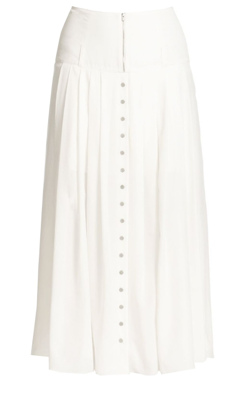 bb548e757c White Cotton Button Front Skirt pleated with yoke | Elizabeth's Custom  Skirts