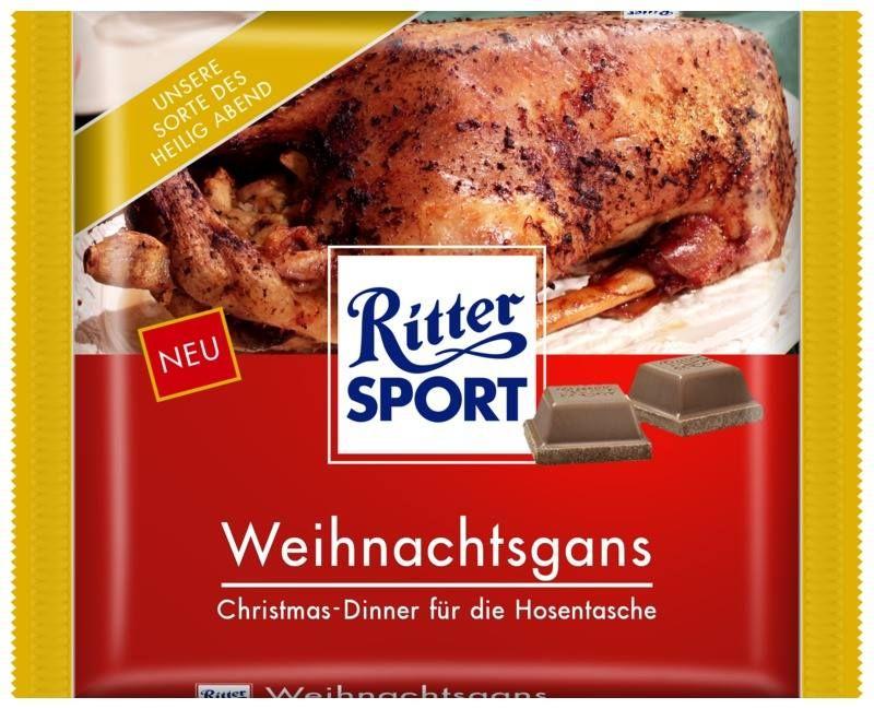 Sportliche Weihnachtssprüche.Ritter Sport Schokolade Sorte Weihnachtsgans čokoláda Ritter