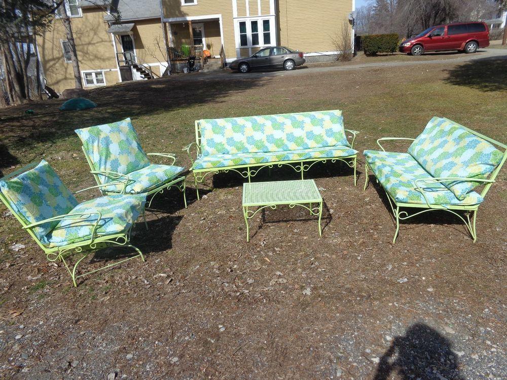 vintage retro 5pc wrought iron lawn patio furniture set w cushions