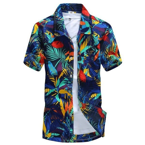 Designer Mens Aloha Beach Floral Plus Size Quick Dry Loose Short Sleeve Casual T-shirt - NewChic