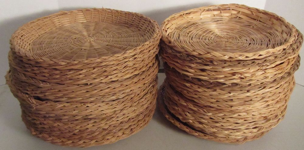 Lot 35 Vintage Wicker Rattan Paper Plate Holders Picnic Cook Outs C&ing : wicker plate holders for paper plates - pezcame.com