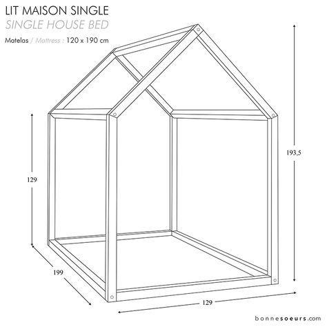 Bonnesoeurs Design Lit Maison House Bed Dimensions Taille Single Size Ideias Para Quarto De Bebe Moveis Para Criancas Decoracao De Quarto