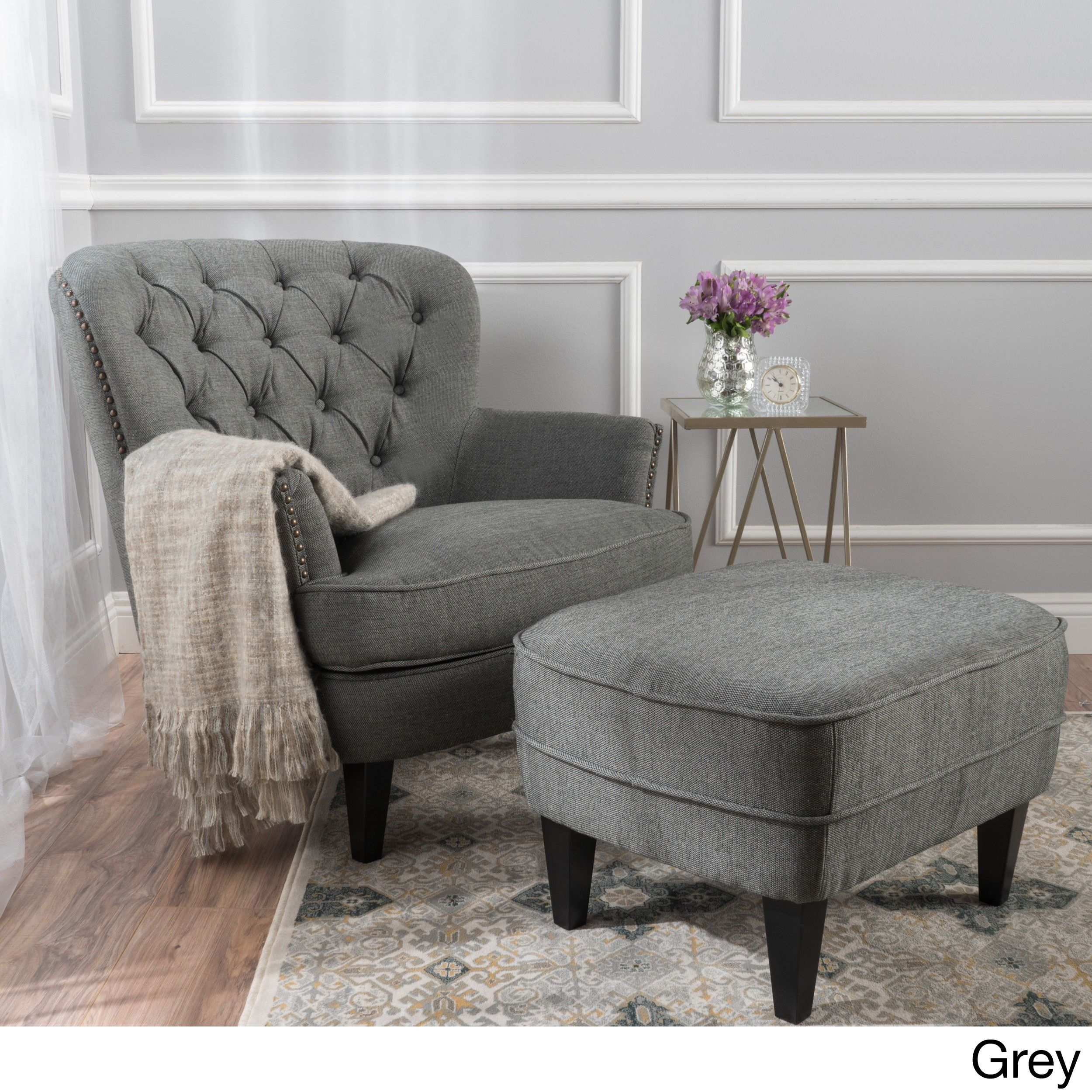 tafton club chair fabric to recover dining chairs christopher knight home tufted with ottoman