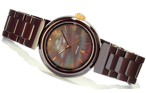 Oniss ON7703-LRG/BR/BR Women's Watch Brown Ceramic Case & Band Brown MOP Dial