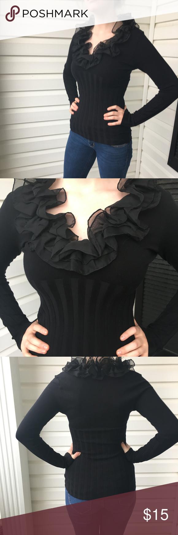 Cache womenus shirt black ruffled vneck small pinterest