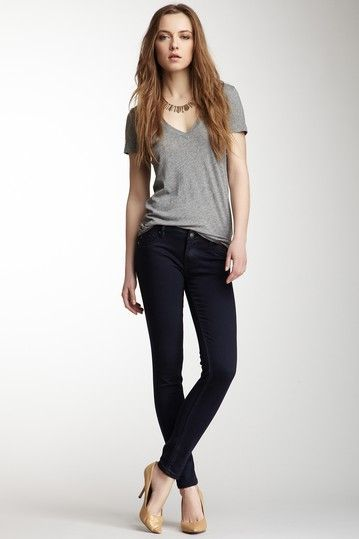 Navy Coated Skinny Jean with grey V-T but no heals | My ...