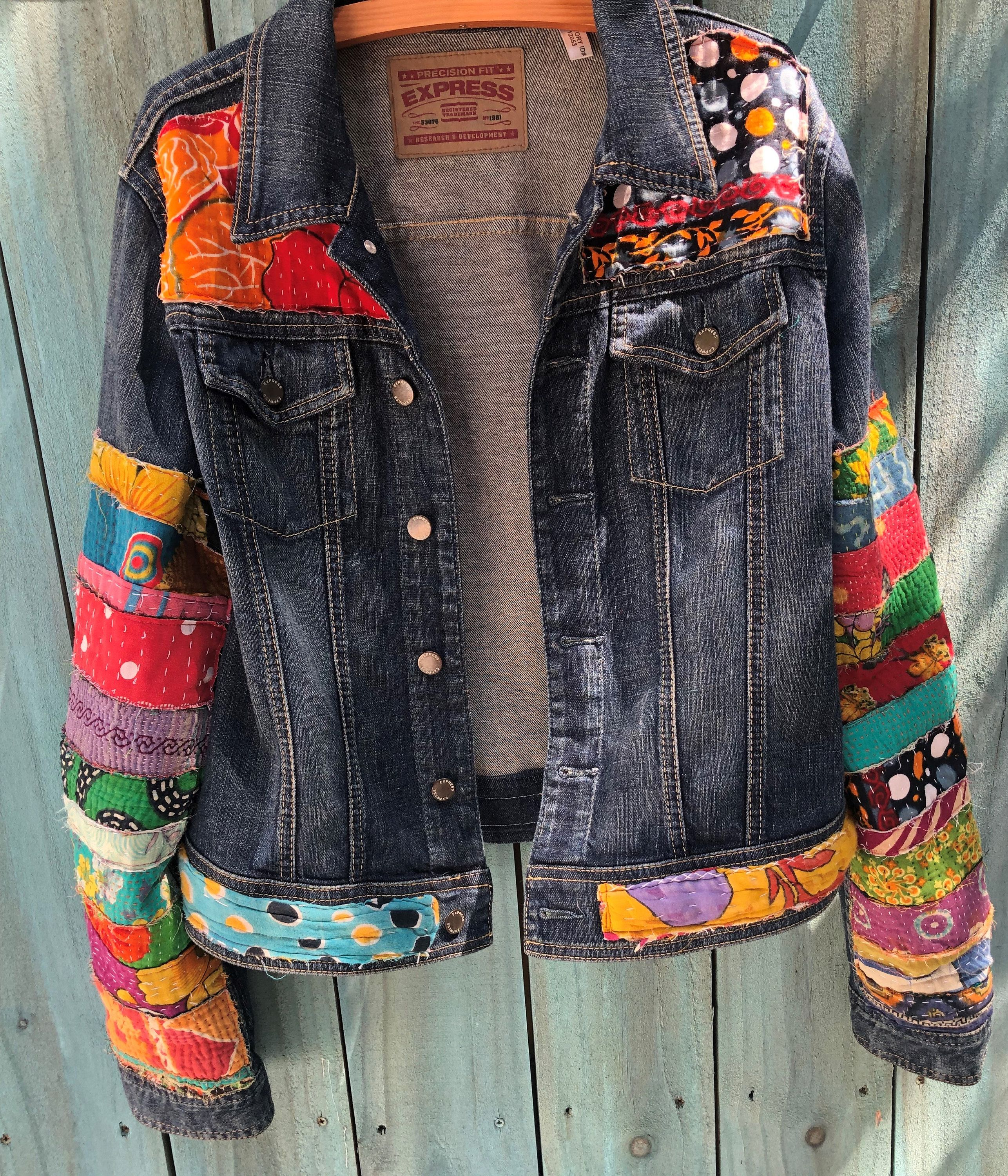 Jean Jacket Hippie Boho Embellished Colorful Denim Jean Jacket Etsy Denim Jean Jacket Jean Jacket Outfits Colored Denim [ 3000 x 2572 Pixel ]
