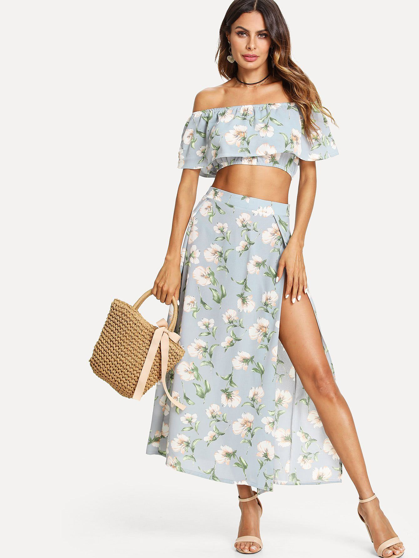 86eee65c26918b bardot floral print crop top with slit side skirt.  fashion  co-ords  two-piece  outfits