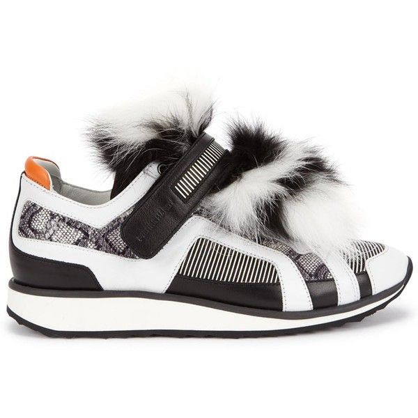 hot sale online da33d cafac Womens Low-Top Trainers Pierre Hardy Monochrome Fur-panelled Leather... (