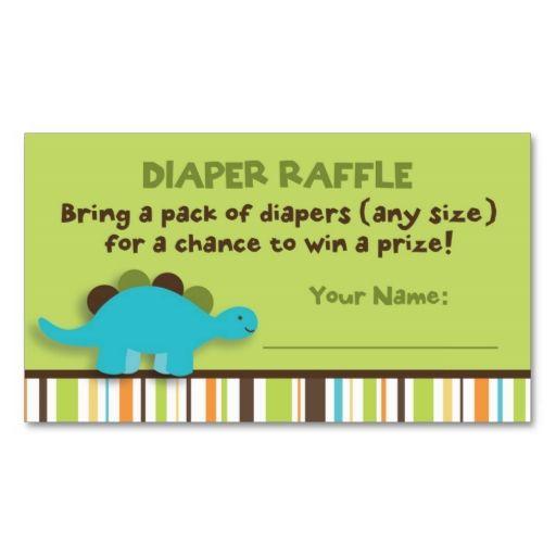 Dinosaur Diaper Raffle Tickets DoubleSided Standard Business