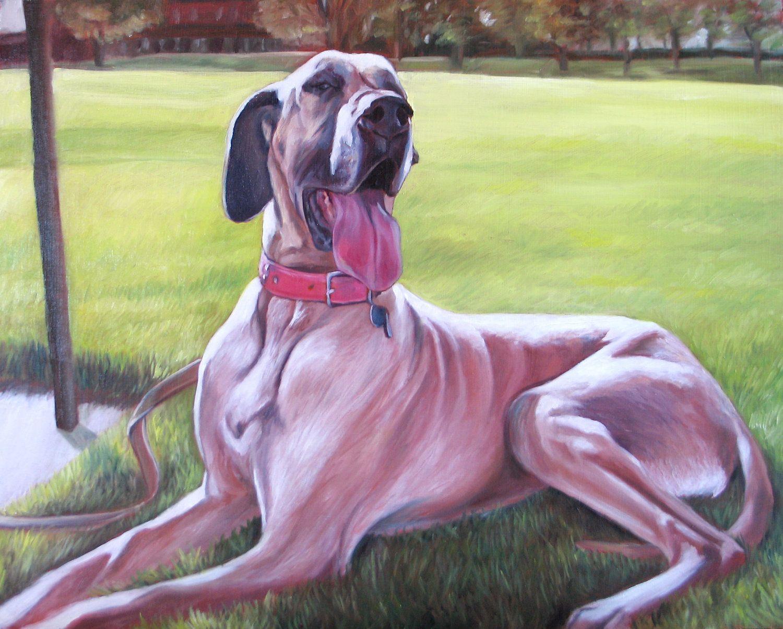Custom Pet Portrait Oil Painting Dog Painting Basset Hound