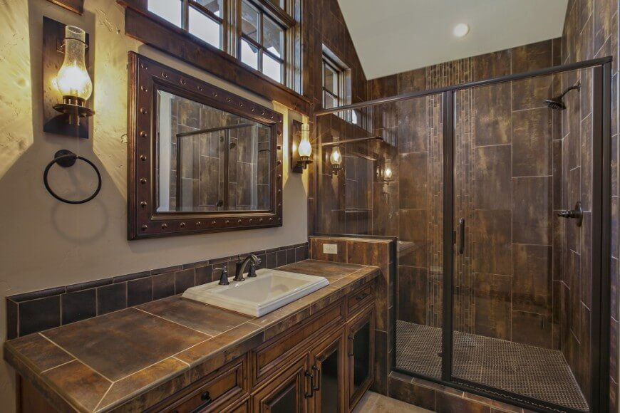 The Tile Going Up And Down With Gray       Central Oregon Custom Lodge    Rustic   Bathroom   Other Metro   DesignHaus