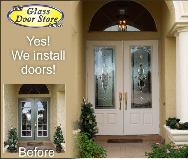 Install New Double Doors With Decorative Glass Door Inserts Glass