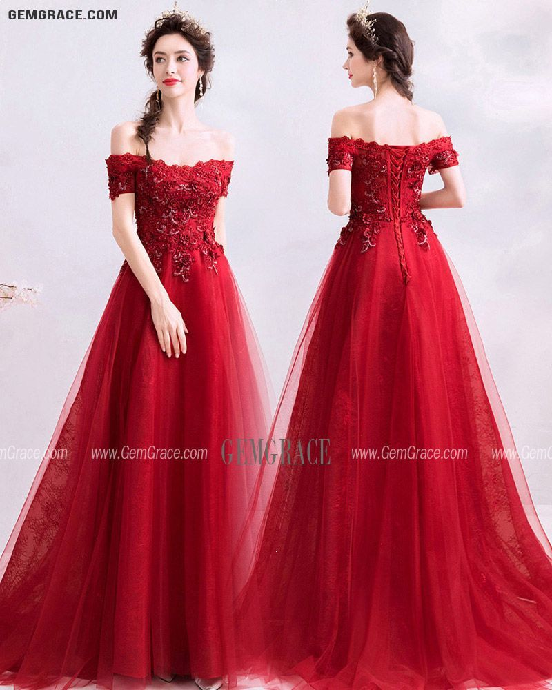 155 99 Gorgeous Red Off Shoulder Sleeves Long Tulle Prom Dress With Beading Wholesale T78019 Gemgrace Com Tulle Prom Dress Burgundy Prom Dress Perfect Prom Dress [ 1000 x 800 Pixel ]