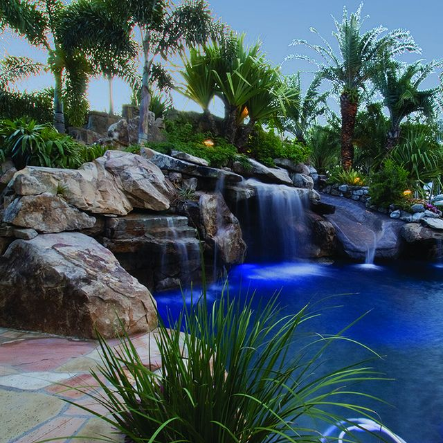 Finished Lagoon Pool Side View Of Grotto Water Feature