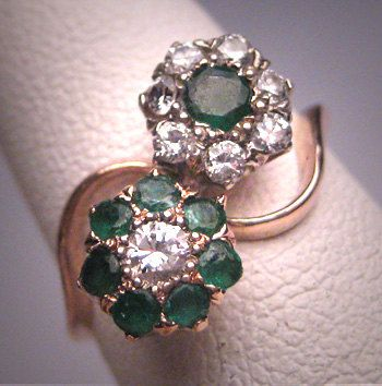 Antique Emerald Diamond Wedding Ring Vintage by AawsombleiJewelry