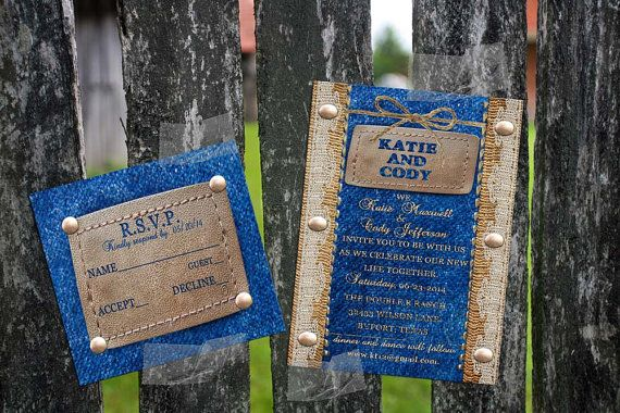 Denim Wedding Invitations: Wedding Or Party, Denim, Burlap And Lace For The Rustic