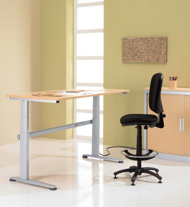 Sit-Stand Wave Height Adjustable Desk Height adjustable desks that are available in a choice of 7 laminate desktop options and a free UK mainland delivery service within 3-4 weeks from order. There is also a free installation service with this range of desks.