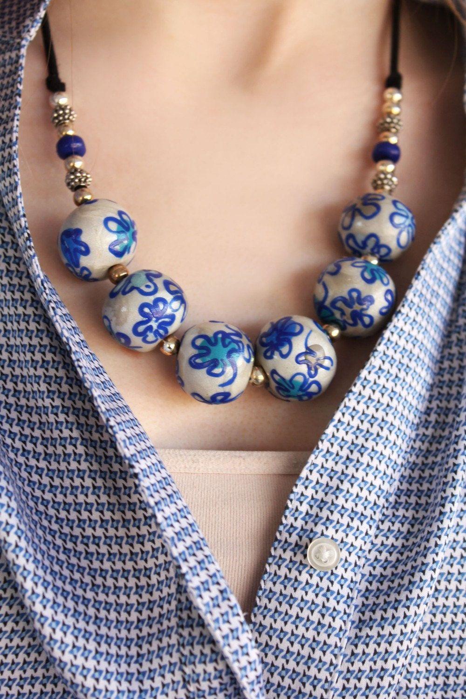 Blue Flower Silver Necklace Blue flower Bead Necklace Dainty Necklace Uk FloralOriental Bead Necklace Blue porcelain Bead Necklace