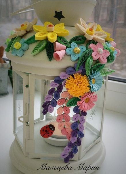 Quilled Floral Candle Holder - by: Maria Maltseva
