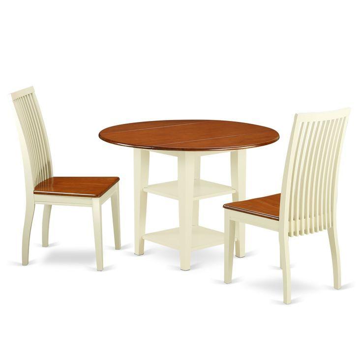 Suip3 Bmk W 3er Set 1 Tisch 2 Stühle In Abuttermilch Kirsche 5er Set 4 Stück Beige Solid Wood Dining Set Dinette Chairs Breakfast Nook Dining Set