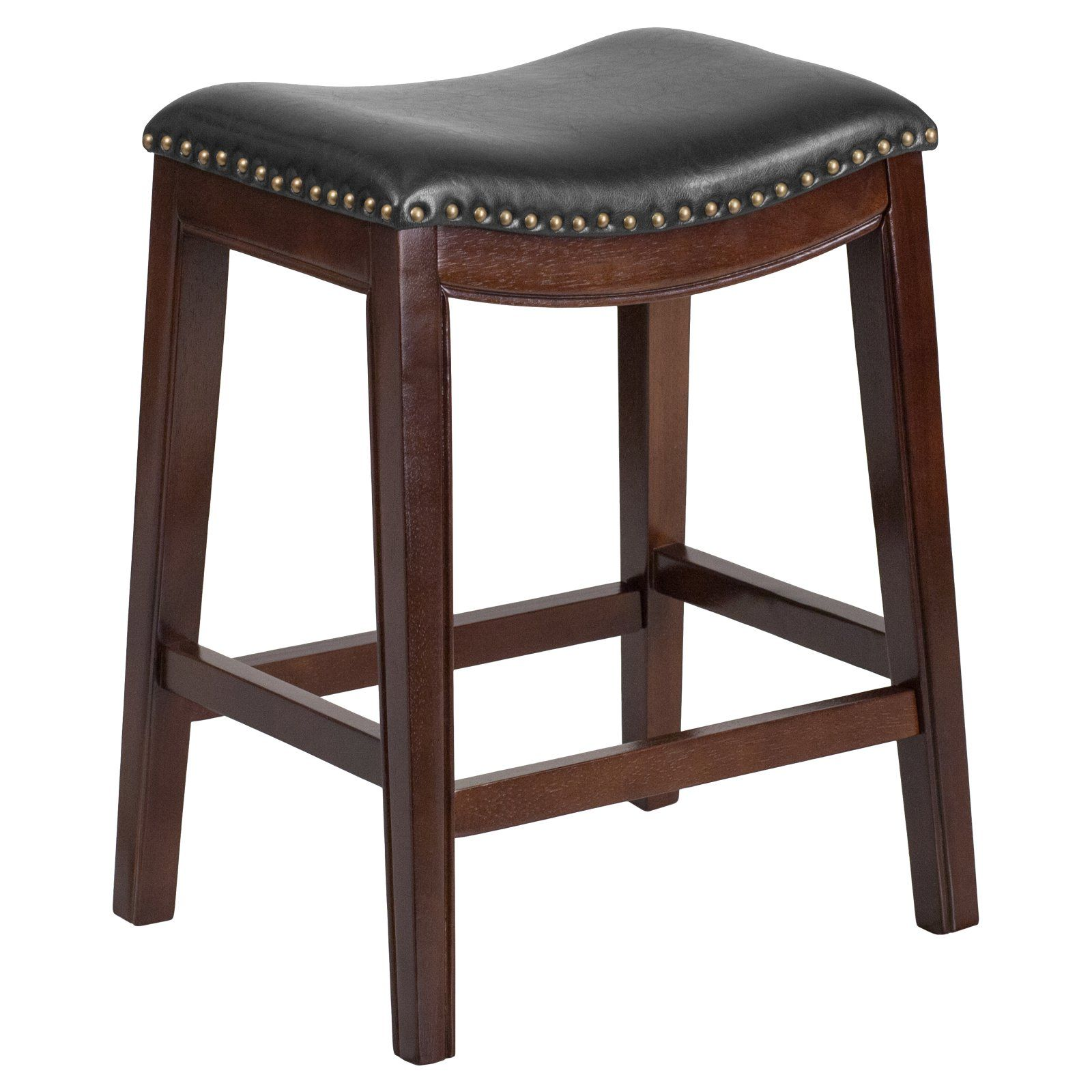 Flash furniture 26 in backless wood counter height stool with black leather saddle seat