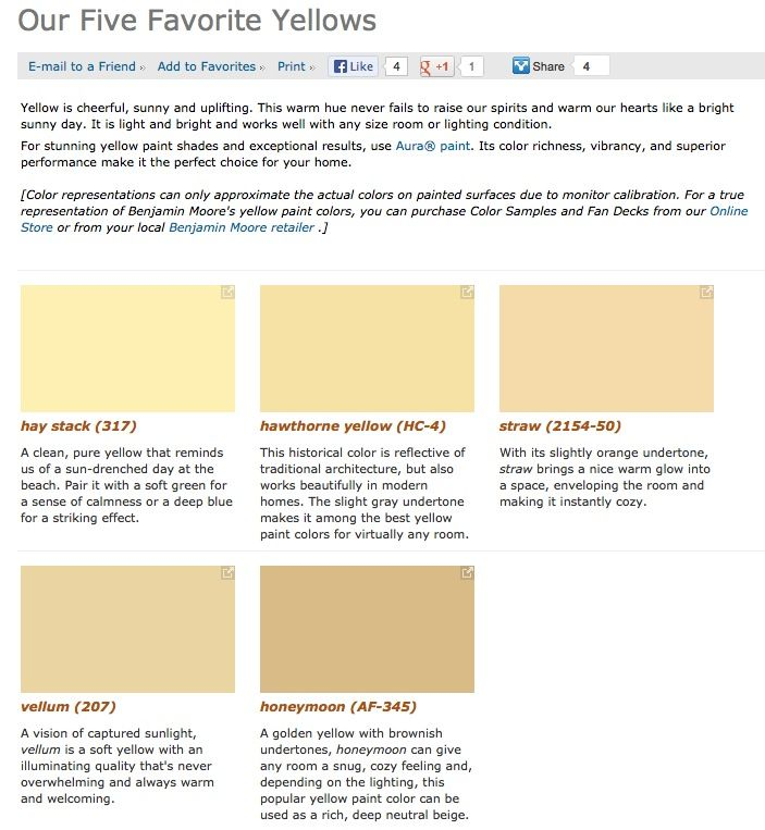 Favorite Popular Best Selling Shades Of Yellow Paint Colors From Benjamin Moore Yellow Paint Colors Paint Colors For Home House Paint Exterior