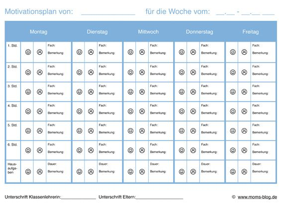Motivationsplan Für Schüler M Schulproblemen