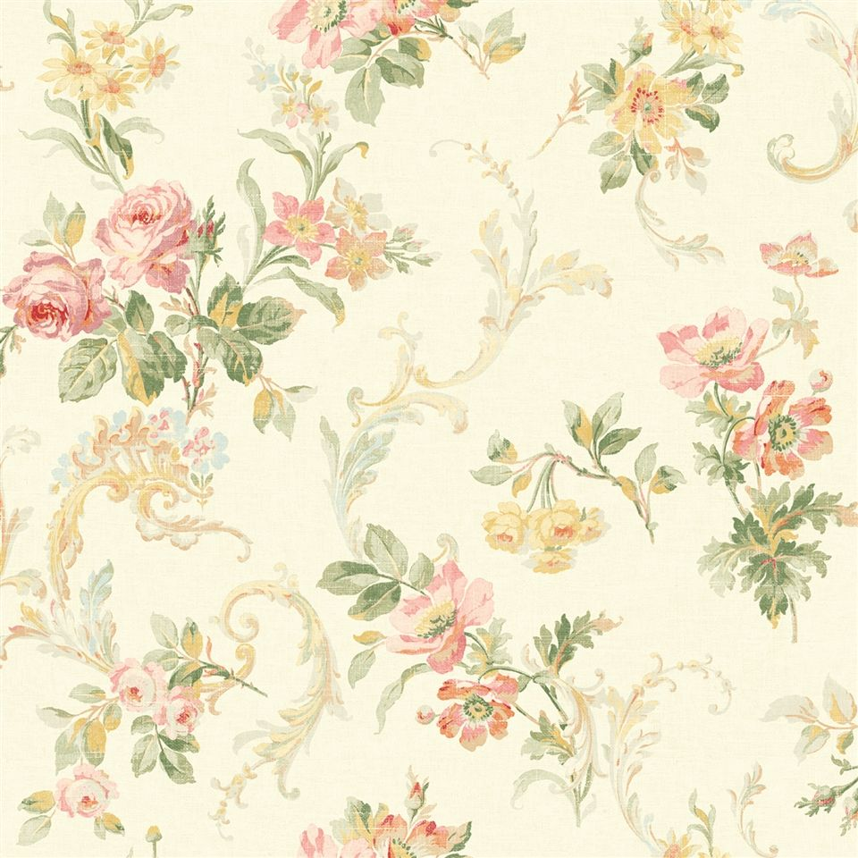 a lovely vintage rose wallpaper print from the book springtime cottage the pink flowers pair - Flower Wallpaper For Home