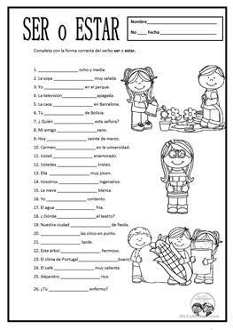 Resultado de imagen para ejercicios de verbo ser y estar   Español ...