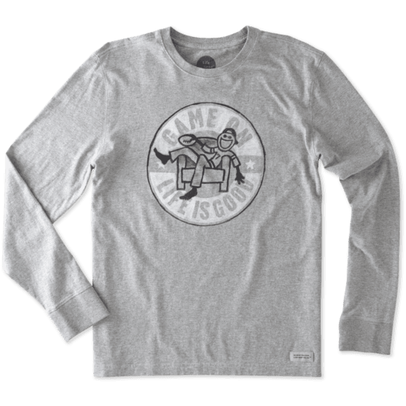 Men's Game On Football Long Sleeve Crusher Tee | Life is Good® Official Site