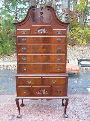 Antique Flaming Mahogany Full Bonnet Highboy Dresser By Paine Furniture Co