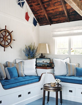 Nautical bedroom new england style built in beds for New england style bed