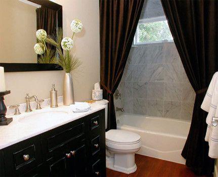 Elegant Bathroom Design With Black Vanity And Black Shower Curtains Apploed Granite Tile Sh Bathroom Shower Curtains Stylish Shower Curtain Bathroom Makeover