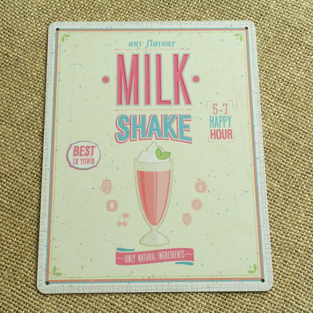 Milk shake metal plaque vintage tin style retro bar ...