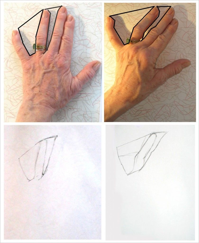 Drawing hands tutorial starting with negative space for Space art tutorial