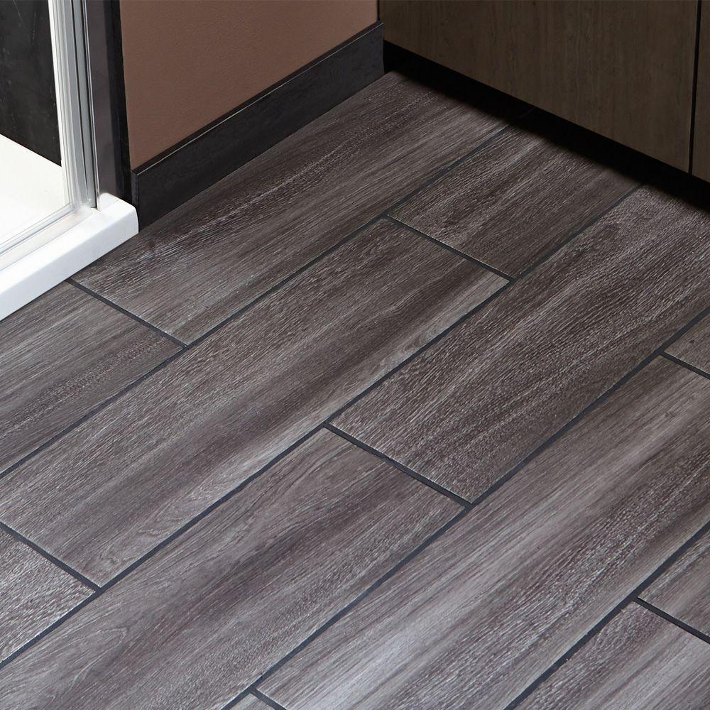 Camden Rustic Dark Grey Wall Floor 148x498 Wood Effect Tiles