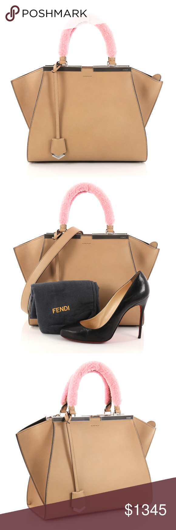 d6c7fa71030c Fendi 3Jours Handbag Leather with Shearling Petite Condition  Excellent.  Minor wear in interior