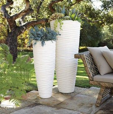 Textured Stone Planters Modern Indoor Pots And Planters By West Elm With Images Modern Planters Outdoor Stone Planters Tall Outdoor Planters