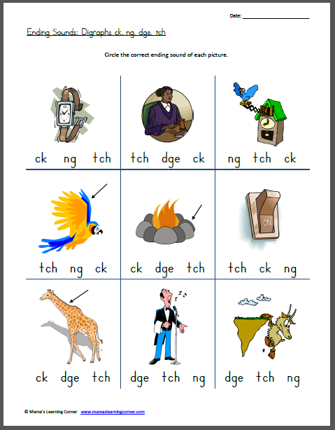Worksheets List Of Words With Tch ending sounds digraphs ck ng dge tch worksheets for tch
