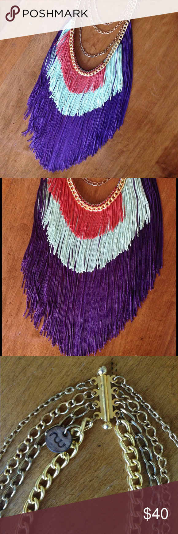 Fringe necklace by Norwegian Wood Beautiful fringe necklace bought from Etsy seller Norwegian Wood. This is a wow piece! Please note: this necklace is not completely symmetrical. Please see pictures. Jewelry Necklaces