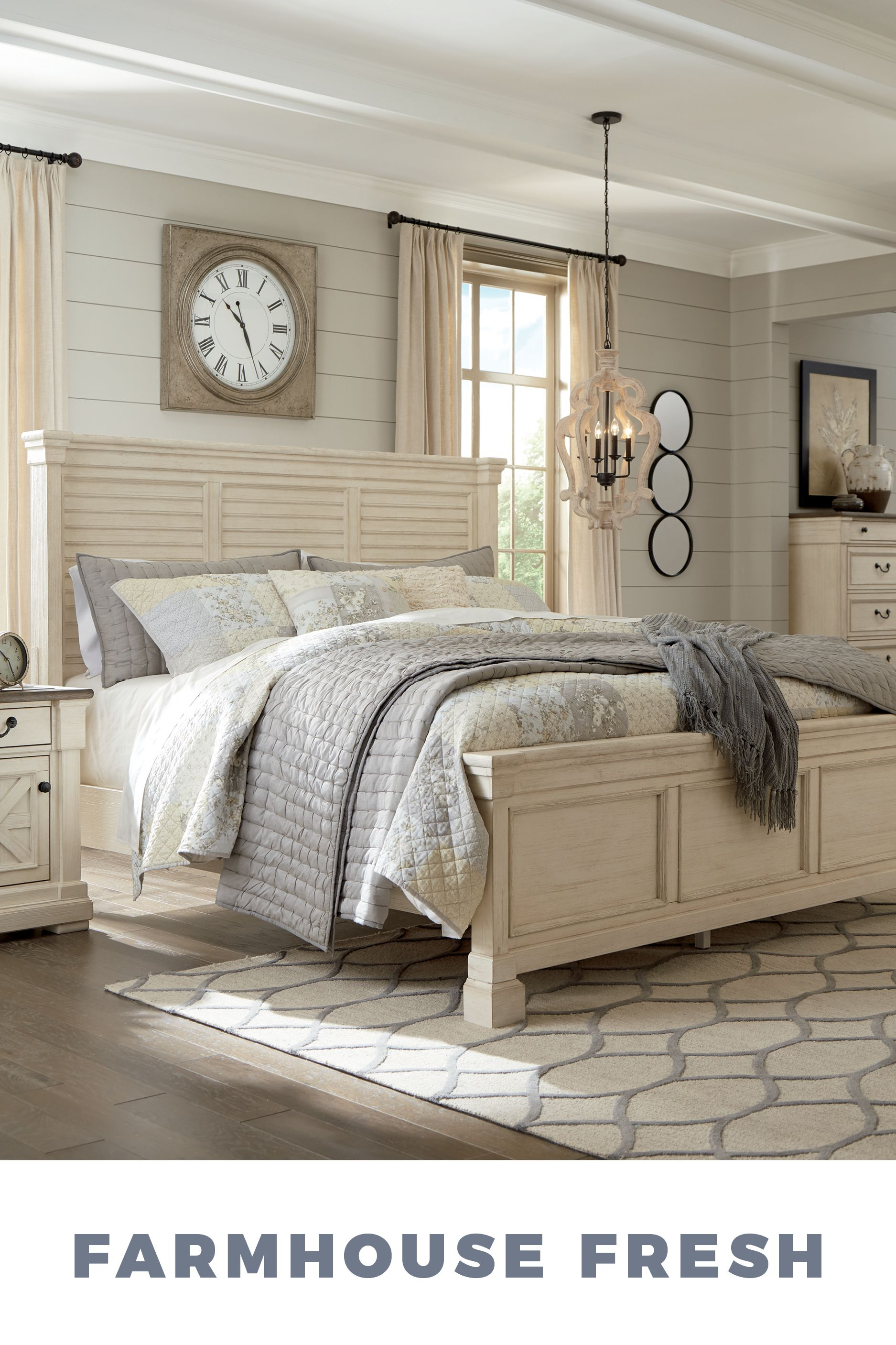 Farmhouse Fresh Master Bedroom From Ashley Furniture Farmhouse Home Decor Ideas Inspiration Style Drea White Panel Beds White Paneling King Bedroom Sets