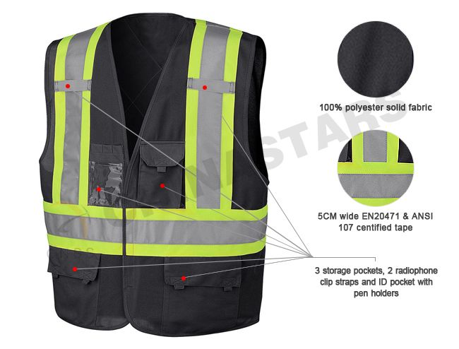 Reflective Material Detail Of Black Safety Vest Safety Vest Reflective Vest Vest