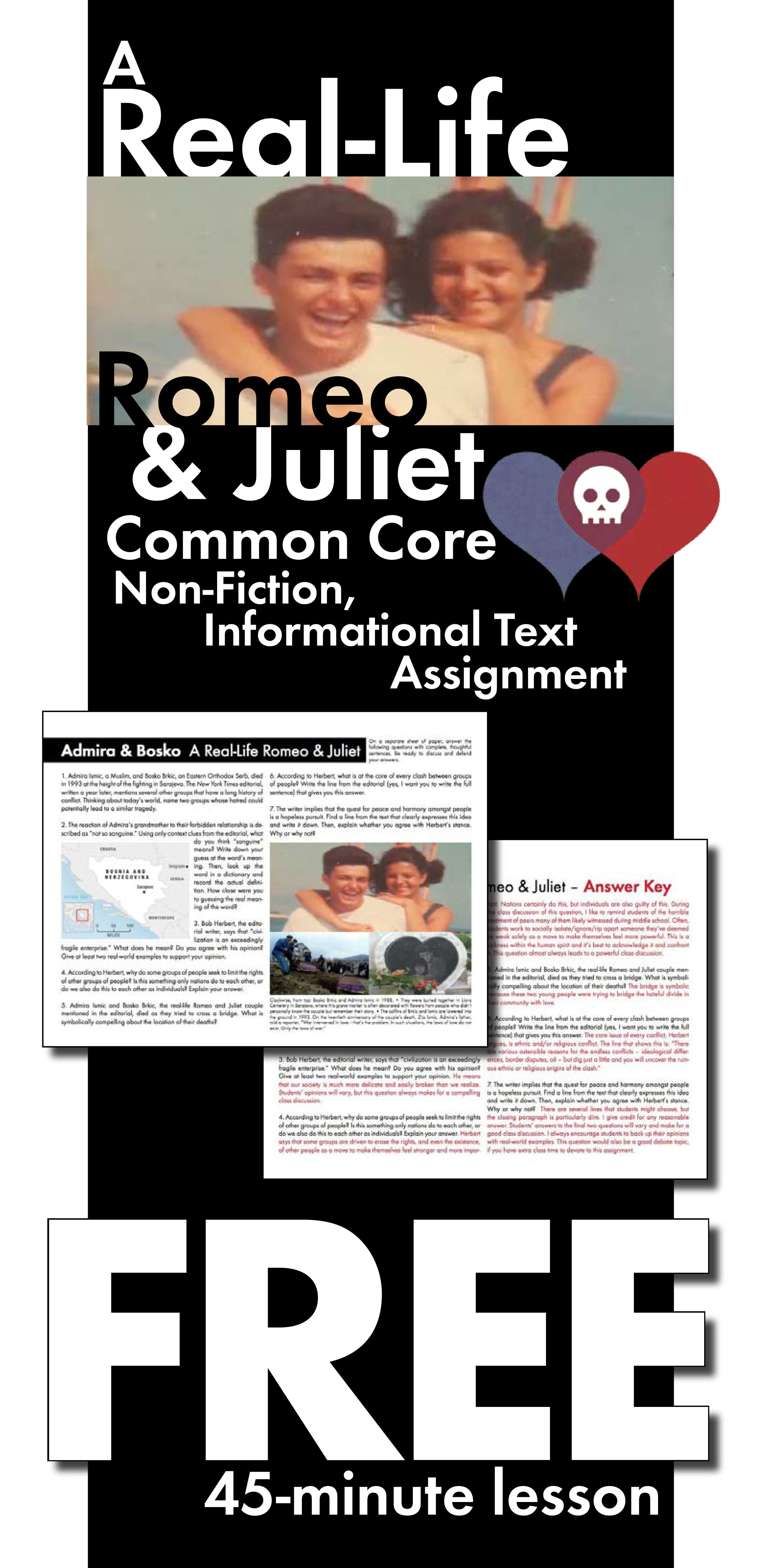 Real Life Romeo Amp Juliet Free Common Core Aligned Non Fiction Lesson