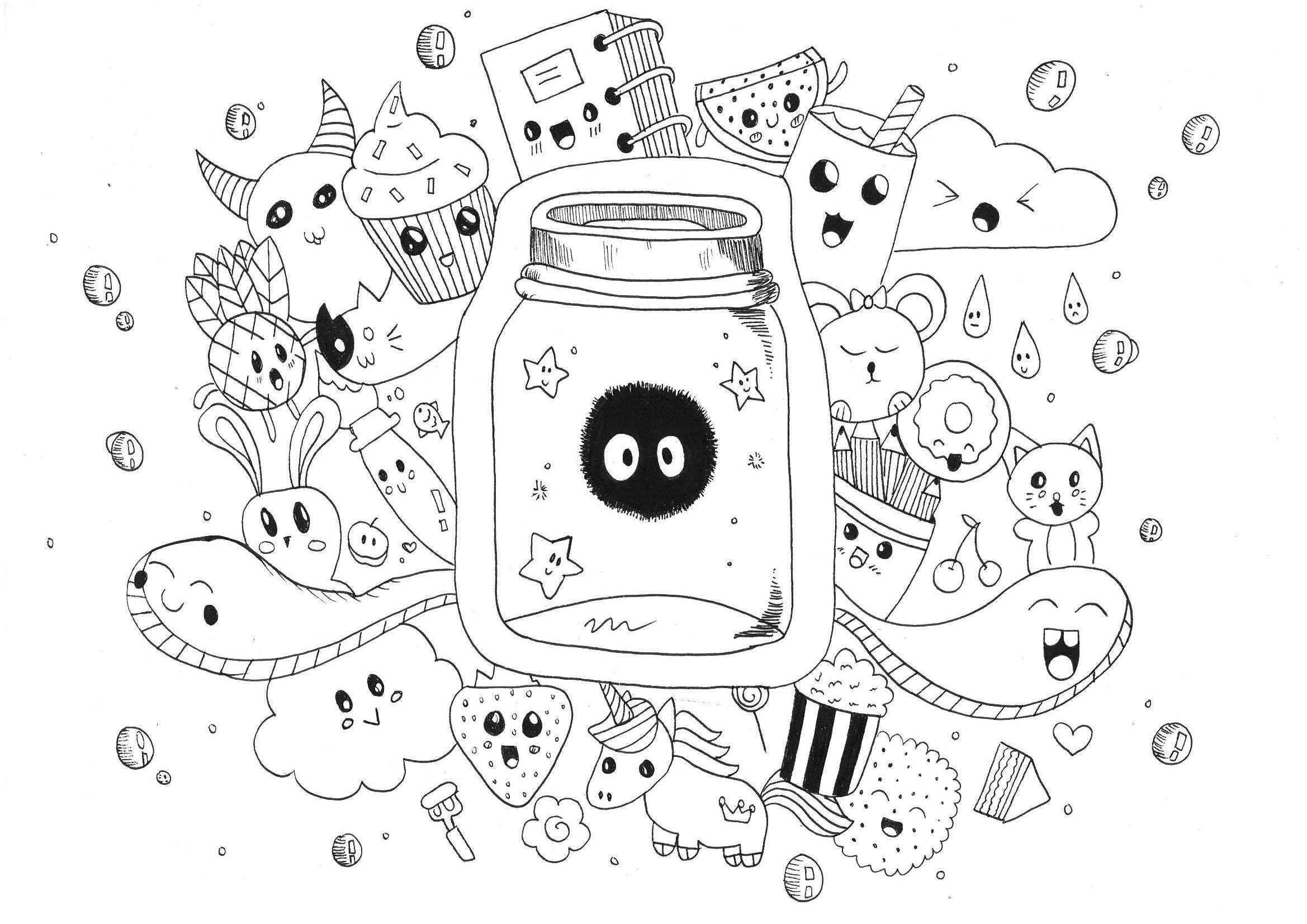Kawaii Coloriage Livre.Cute Monsters Unicorns And Funny Animals A Doodle Very