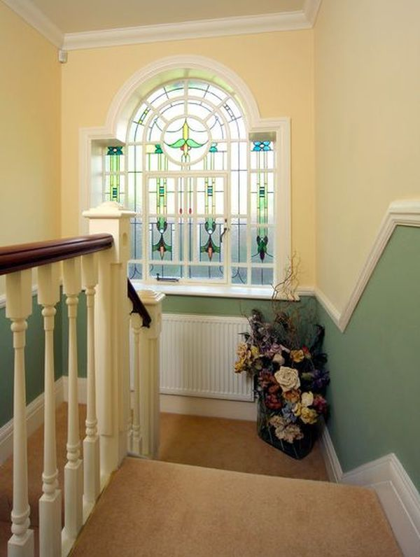 Traditional Stairs Used Cream And Green Wall Color