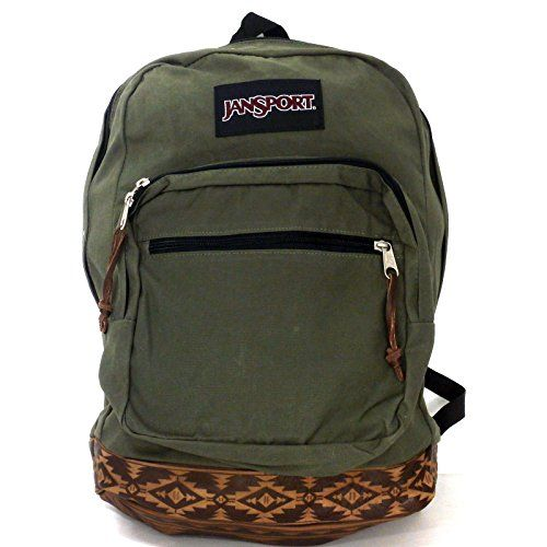 JanSport Army Green Backpack w/Brown Southwest Sign Bottom w/15 ...