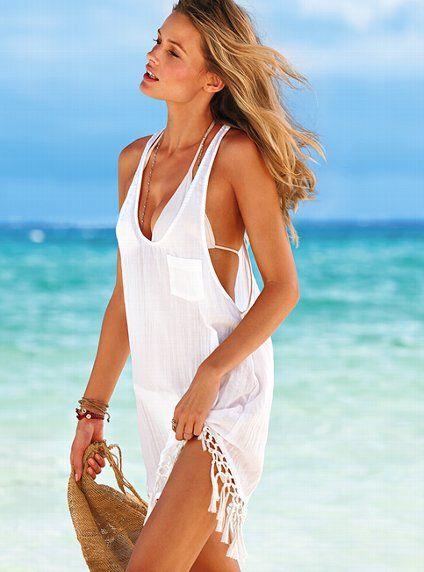 VICTORIAS SECRET Tassel Fringe Romper Pink Swimsuit Cover Up SMALL