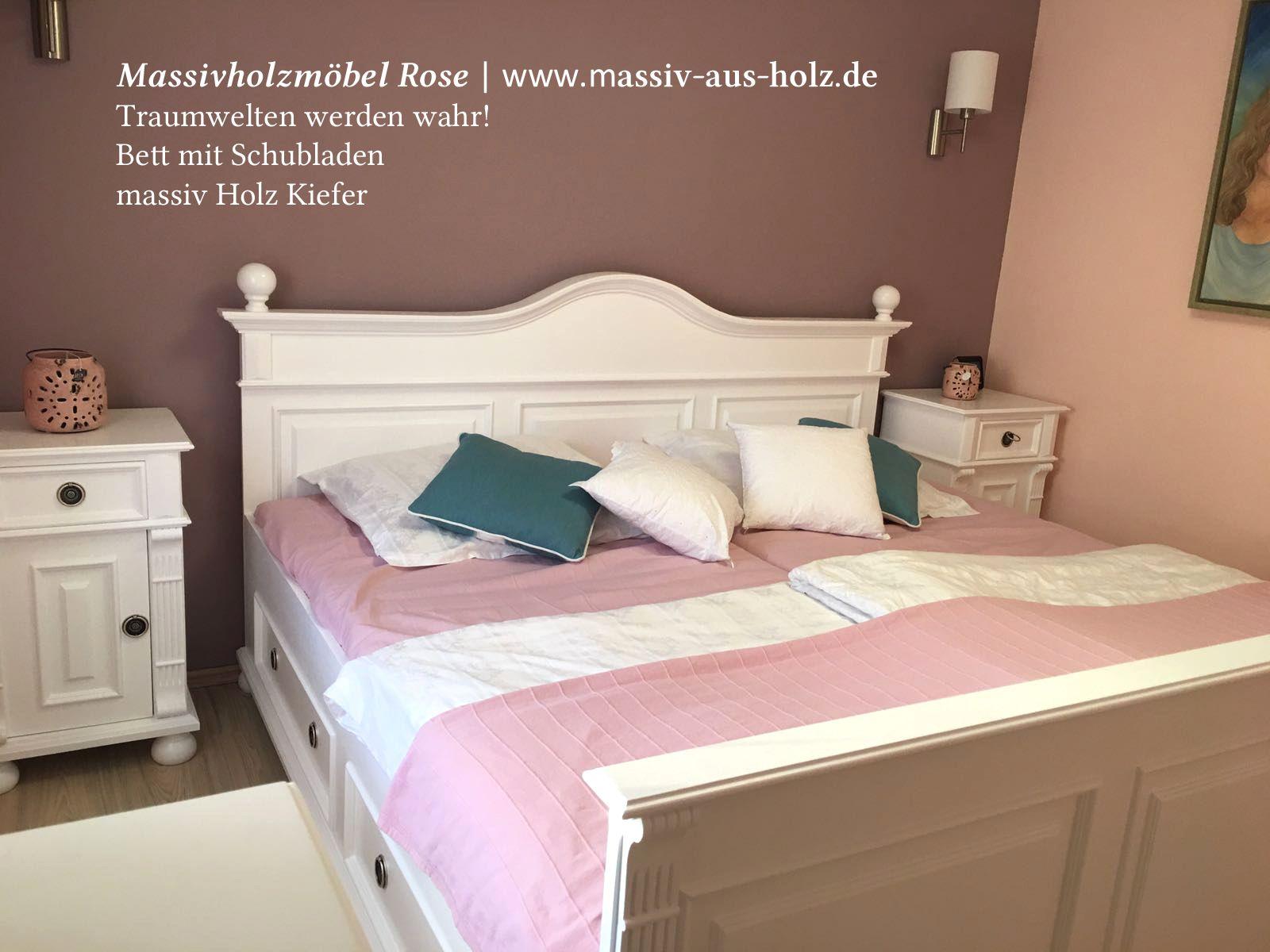 Wahre Wohnfaszination: Weißes Bett im Landhausstil; www.massiv-aus ...