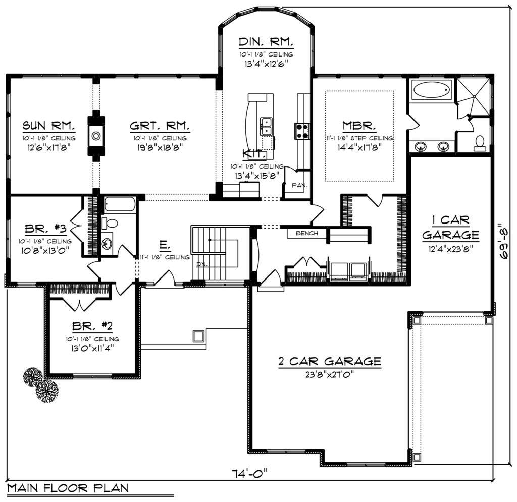 Ranch Style House Plan 3 Beds 2 Baths 2449 Sq Ft Plan 70 1248 Ranch Style House Plans Floor Plans Ranch Craftsman House Plan